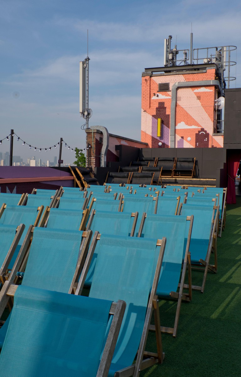 Open air cinema on a rooftop