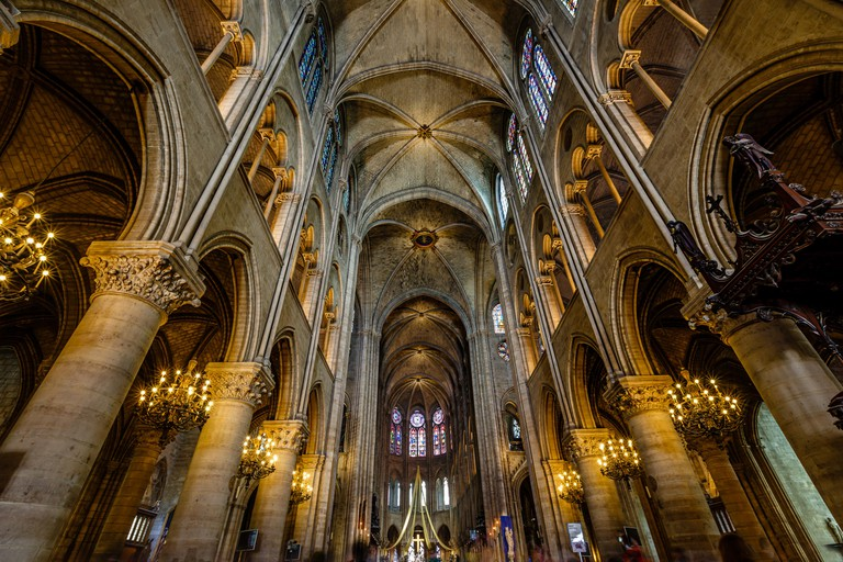 Interior of Notre Dame Cathedral, Paris, France.