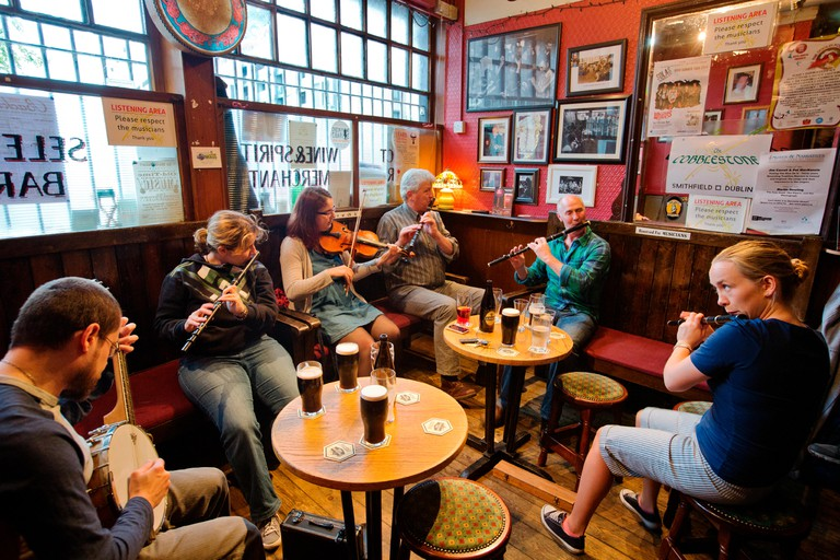 Musicians gather every evening of the week at The Cobblestone, known for traditional Irish music.