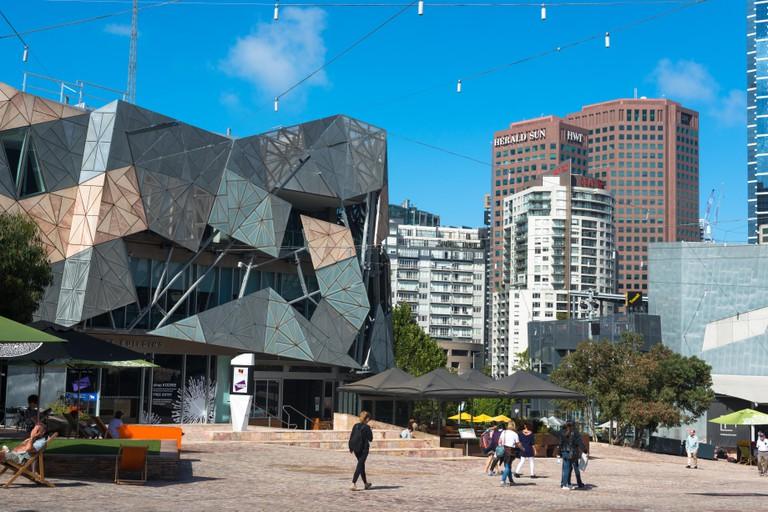 View of plaza at Federation Square in central Melbourne, Victoria, Australia.