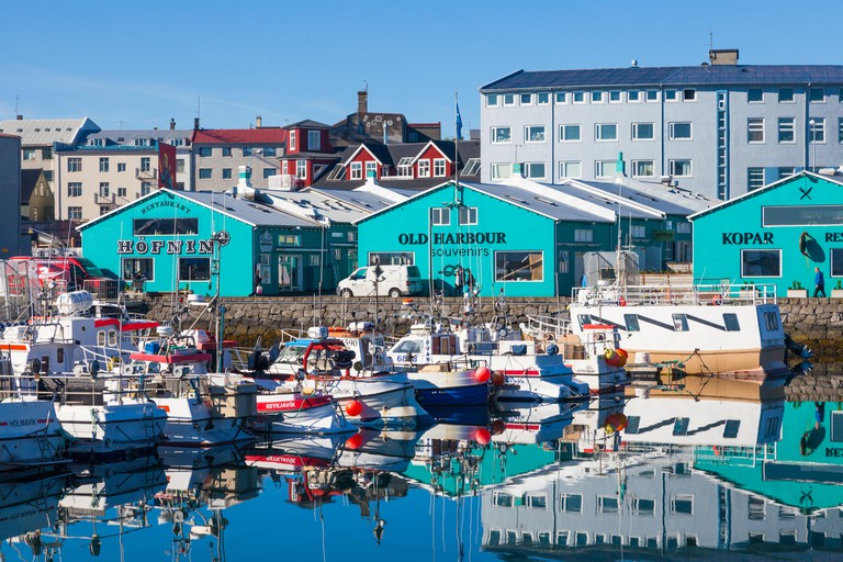 Colourful view of the Old Harbour in Reykjavik