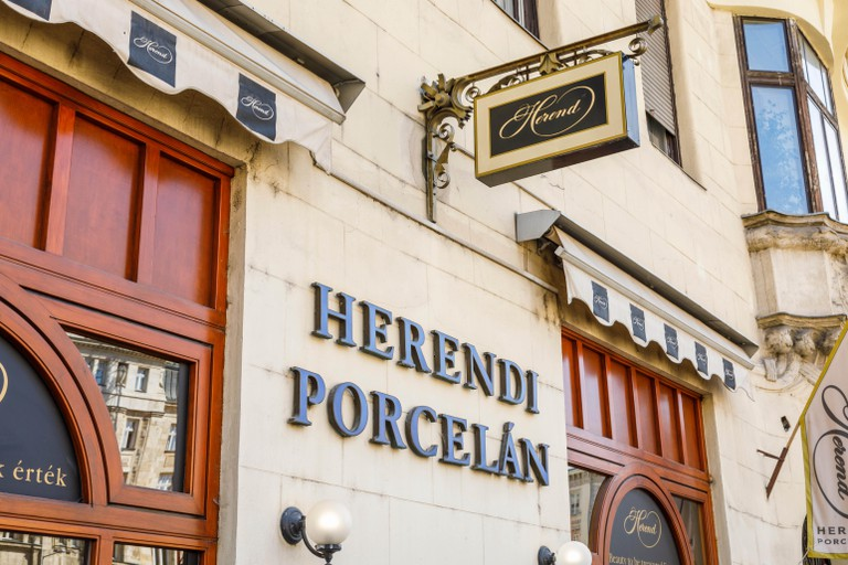 Herend Porcelain shop front in downtown central Pest, Budapest, capital city of Hungary, central Europe