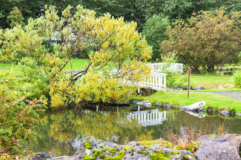 travel to Iceland - public family park in laugardalur valley of Reykjavik city in september