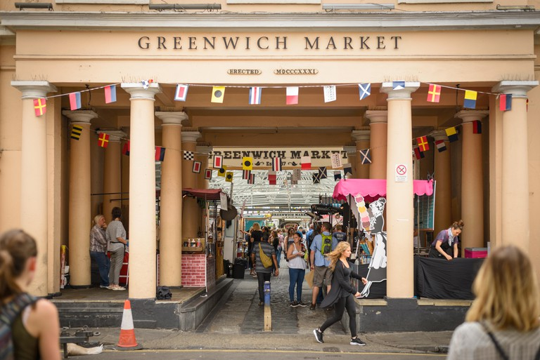 Greenwich Market in London (UK). July 2017. Landscape format.
