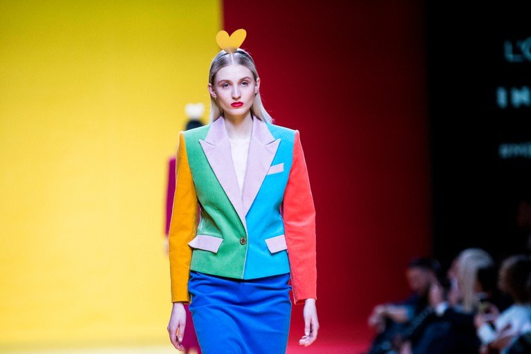 A model showcases designs by Agatha Ruiz de la Prada