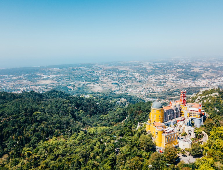 Aerial View Of Pena Palace Built in 1854 In Sintra, Portugal