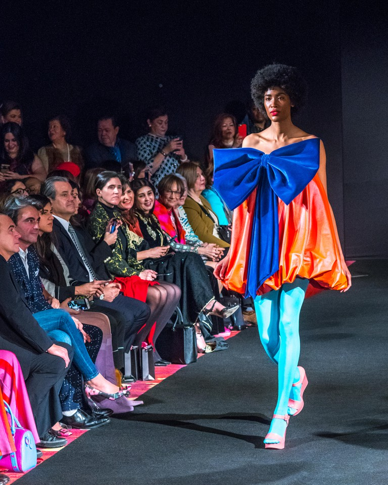 Models walk the runway to present the Autumn-Winter 18-19 collection by Spanish designer Agatha Ruiz de la Prada during the New York Fashion Week