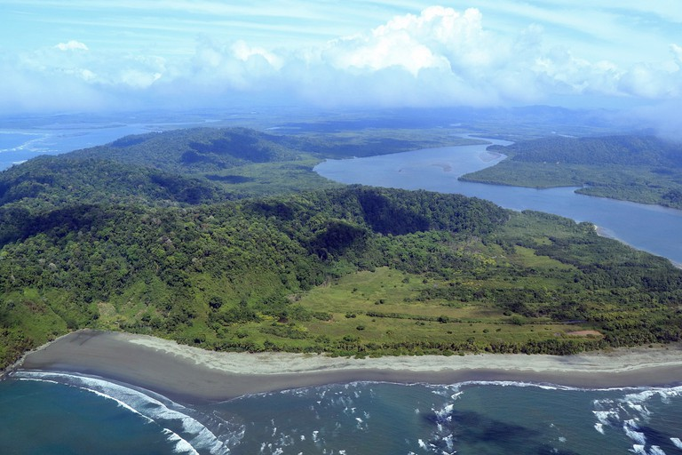 Aerial view of the rivermouth at Isla Violin Humedal Nacional Terraba Sierpe in Puntarenas Province, Costa Rica