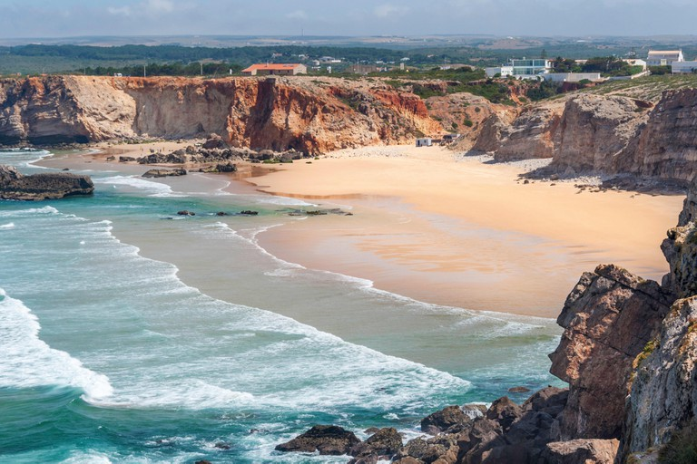 Sandy beach in Sagres, called the end of the world, Faro district.