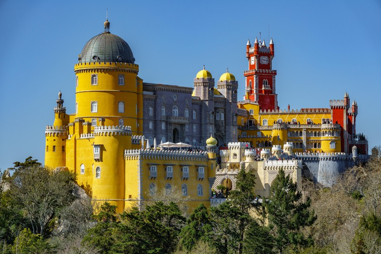 Palace da Pena over hill. Sintra, Lisbon. Portugal