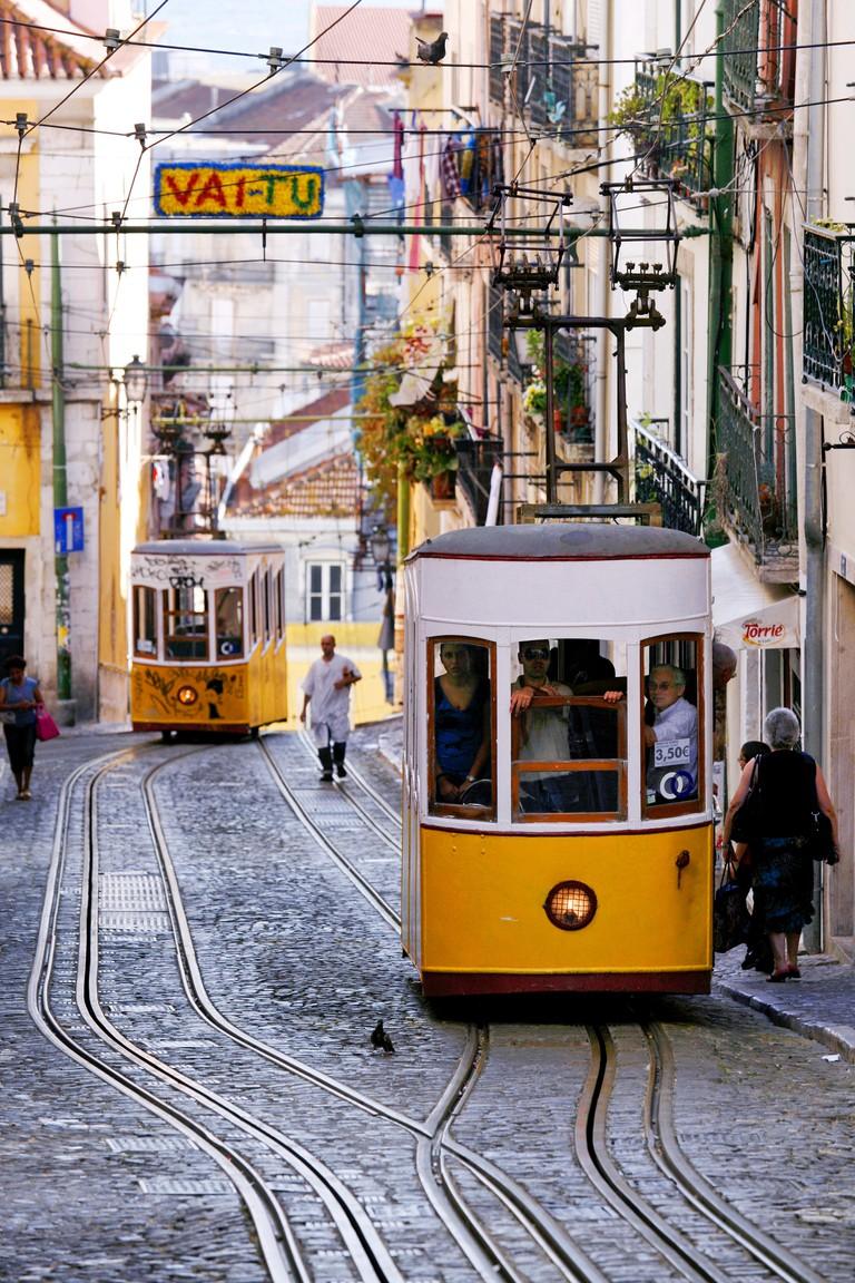 Bica Funicular, Elevador da Bica or Ascensor da Bica, Lisbon, Portugal