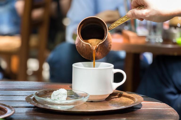 Greek coffee in a copper pot