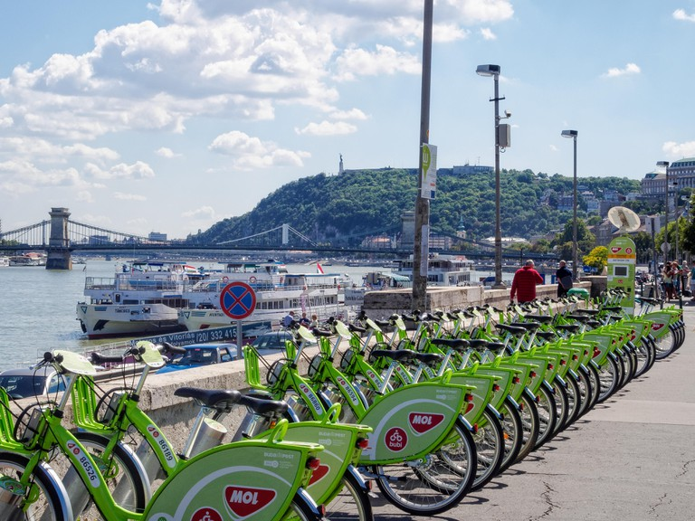 MOL BuBi public bicycle sharing depot at the Batthyany Square