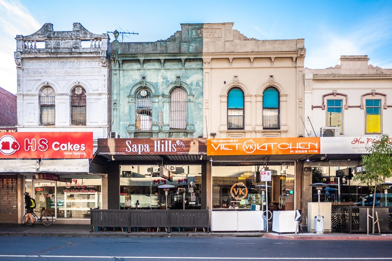Asian restaurants along Melbourne's suburban street in Footscray. Victorian style facade of old architecture.