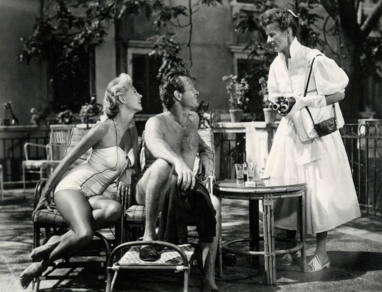Actors Katherine Hepburn, Mari Aldon, and Darren McGavin in the movie Summertime, USA 1955.