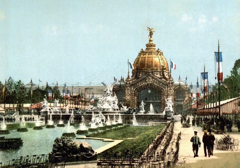 Exposition Universal, 1889, Paris, France with the view of the central dome built for the Exposition Universelle.