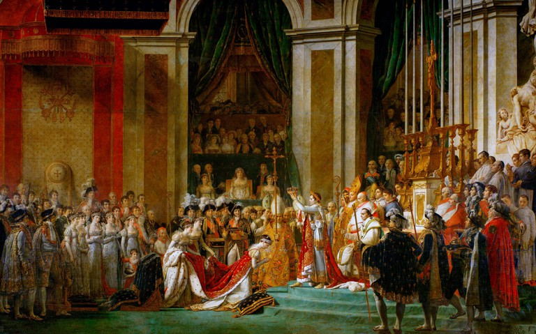 The Coronation of Napoleon - Josephine kneels before Napoleon during his coronation at Notre Dame. Behind him sits pope Pius VII. Jacques-Louis David, circa 1804