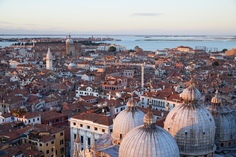 Venice rooftops and Saint Mark Basilica domes