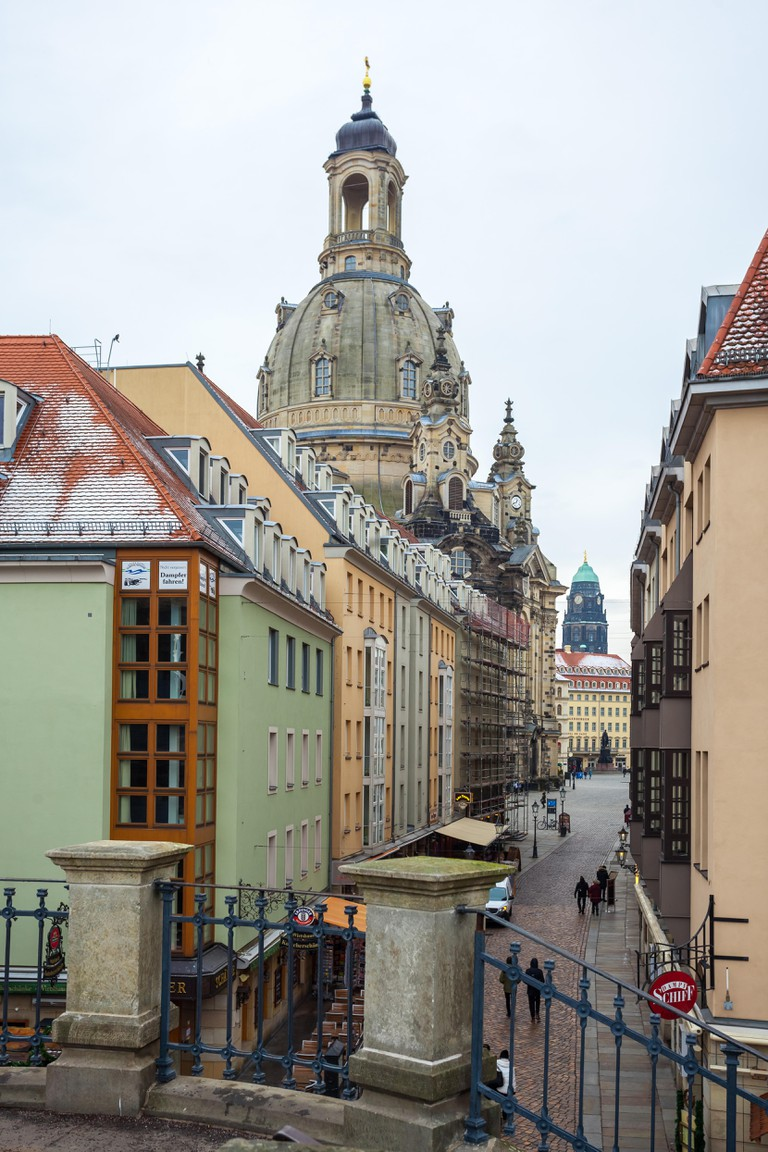 Ancient historical quarter and street of Dresden, Berlin.