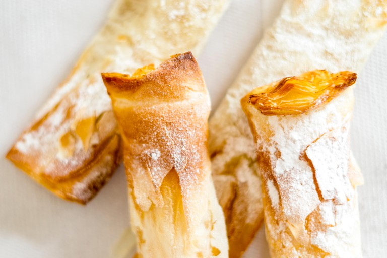 Traditional portuguese sweet pastry from Sintra called travesseiro, Portugal