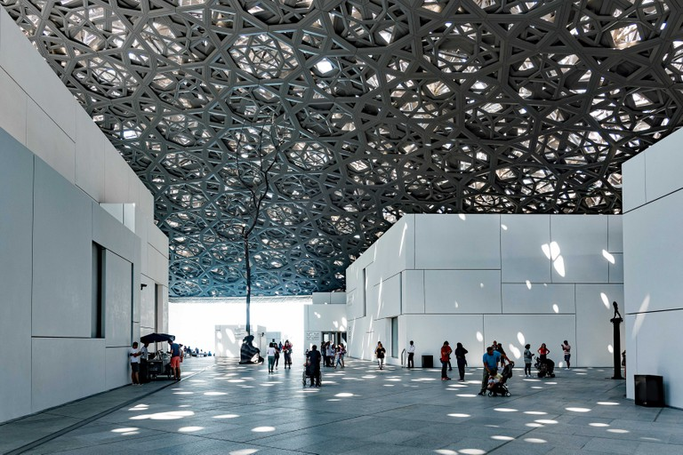 Images of the inside courtyard of the Louvre Abu Dhabi, U.A.E.