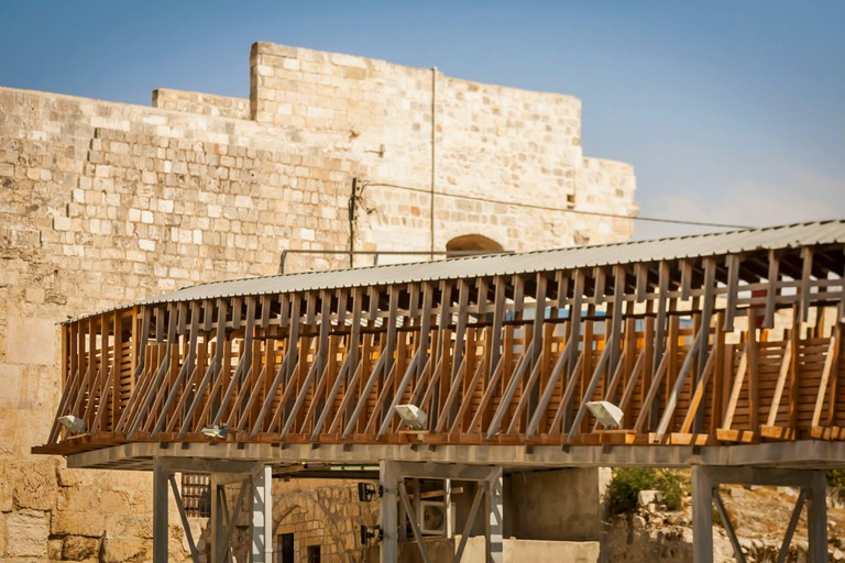 JERUSALEM, ISRAEL. September 15, 2017. The Mughrabi Bridge, a wooden bridge connecting the Western Wall plaza with the Mughrabi Gate, Temple Mount.