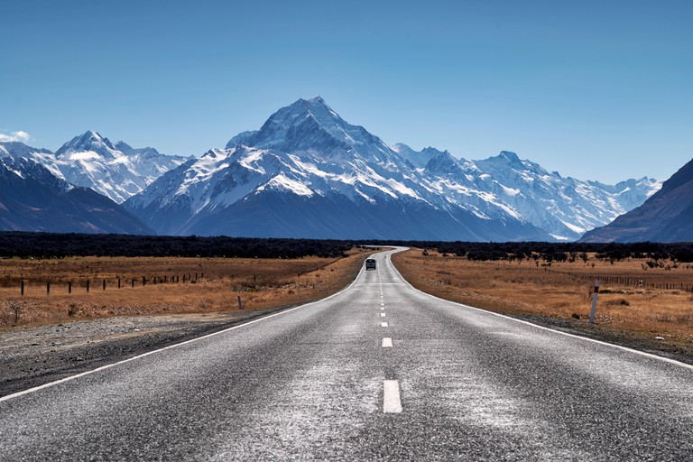 The road to Aoraki Mount Cook National Park, New Zealand