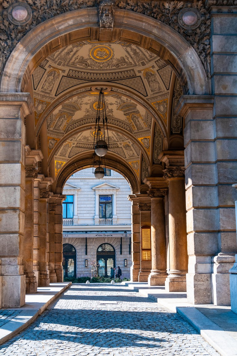 Side view of the entrance to the Hungarian State Opera House on Andrassy Avenue, Budapest.