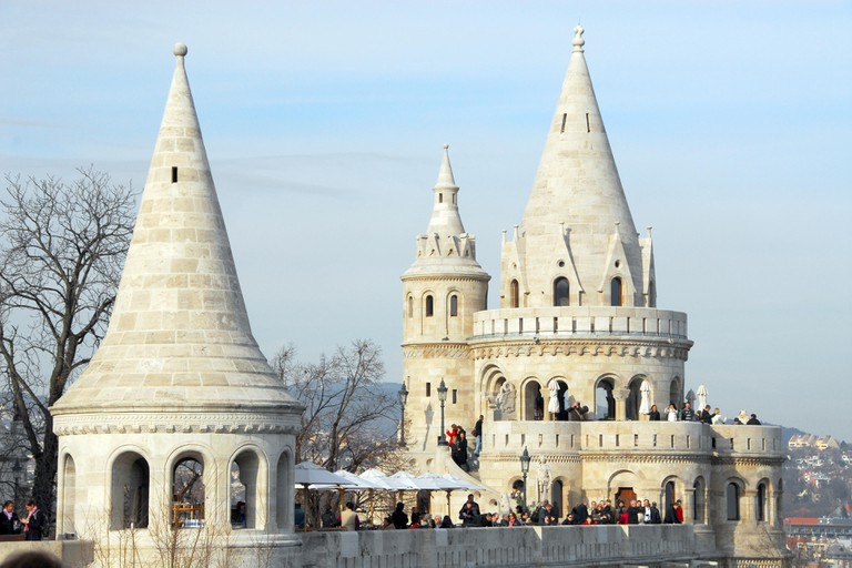 Fisherman's Bastion is a terrace in neo-Gothic and neo-Romanesque style situated on the Buda bank of the Danube, on the Castle hill in Budapest.