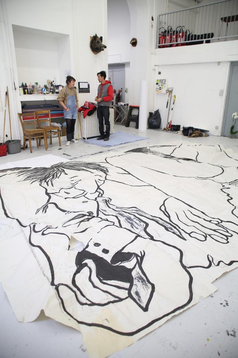 Graffiti artistes Ella & Pitr at their studio