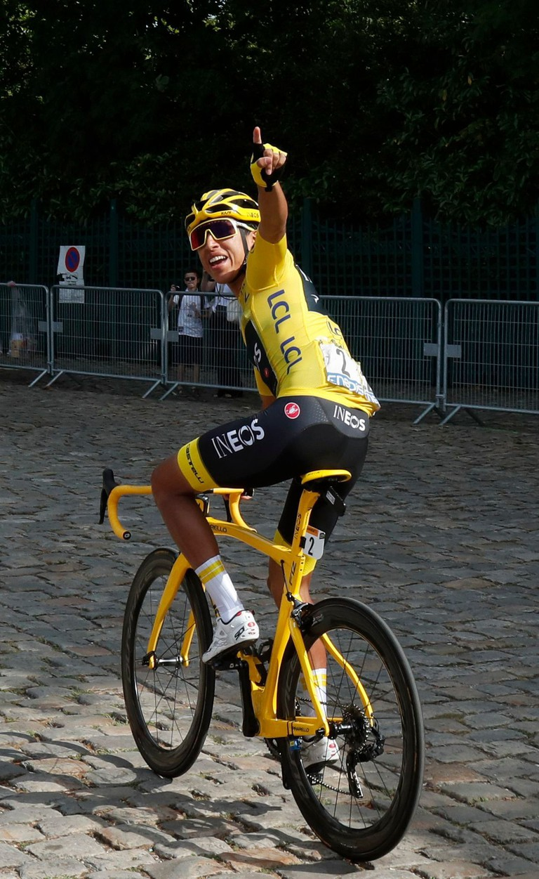 Colombia's Egan Bernal wearing the overall leader's yellow jersey as he arrives for the start of the Tour de France