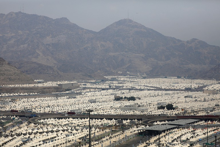 A general view of the tent City of Mina a head of Muslim pilgrimage near Mecca, Saudi Arabia.