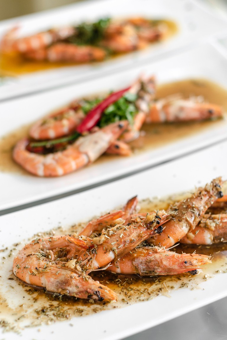 Portuguese seafood of mixed traditional prawn tapas dishes.