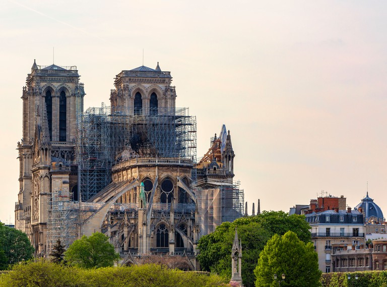 Notre Dame Cathedral in Paris after the fire destroyed the whole roof in 15 April 2019.