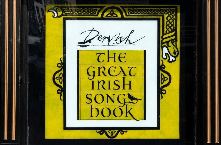 The Great Irish Song Book featured in an Irish music bar in Sligo, Ireland
