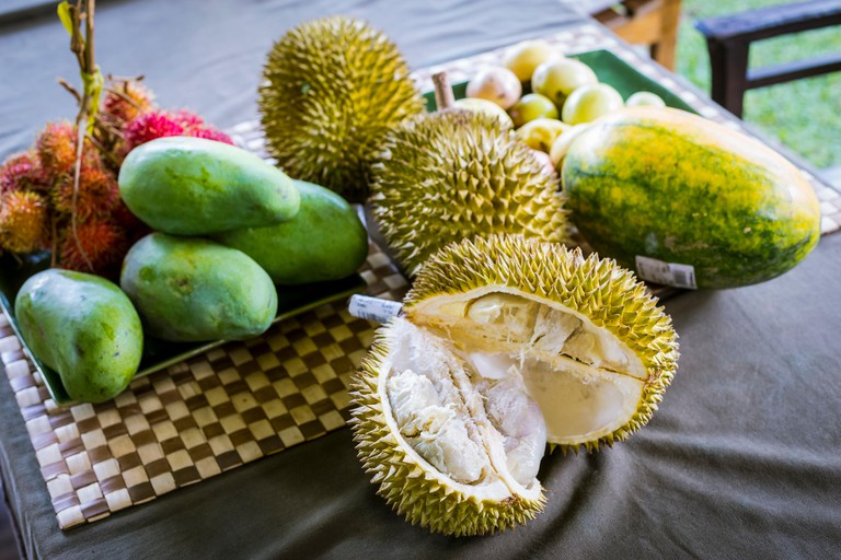 Fresh durian fruits, Ubud, Bali, Indonesia. Image shot 2016. Exact date unknown.