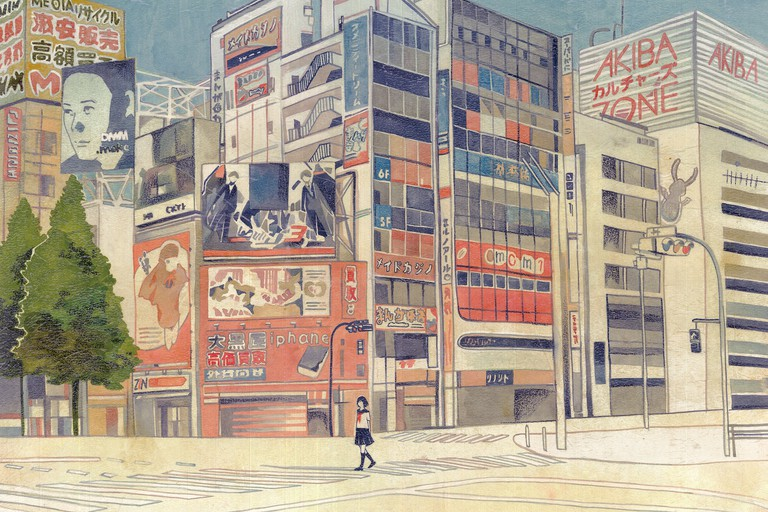 Shiori Fujioka's illustrations capture a moment of quiet in a city famous for its visual noise