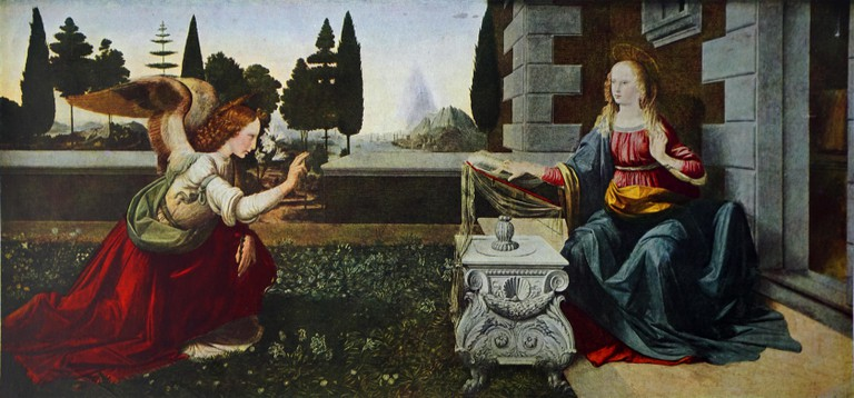 Annunciation by Leonardo da Vinci and Andrea del Verrocchio
