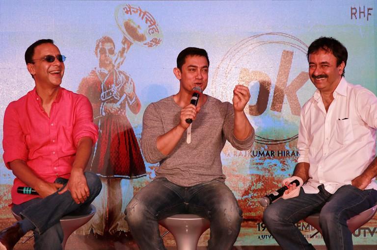 Cast of film PK in Mumbai, India.