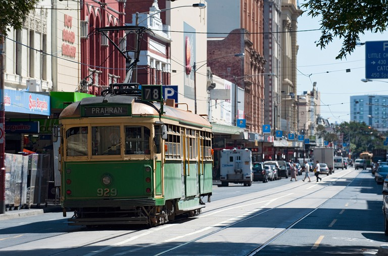 Tram on Chapel Street, Melbourne, Australia.