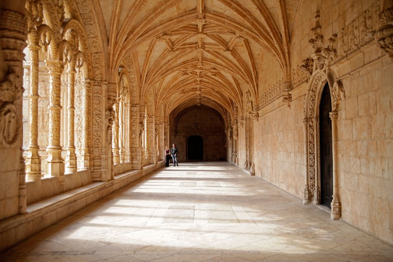 cloister of Jeronimos Monastery Mosteiro dos Jerominos in Belem, Lisbon, Portugal, Europe