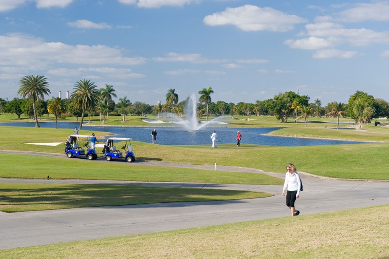 Marriott Doral Golf Resort & Spa , Miami , Florida , USA , golfers & caddies with buggies putting 18th hole of Blue Monster