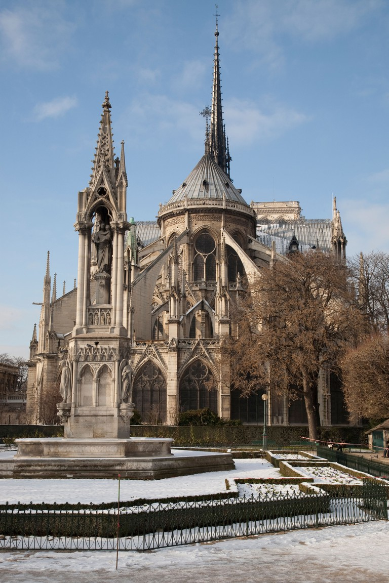 Notre Dame Cathedral in Winter in Paris, France.