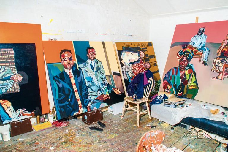 Inside Joy Labinjo's Brixton studio, London, United Kingdom, 2019.