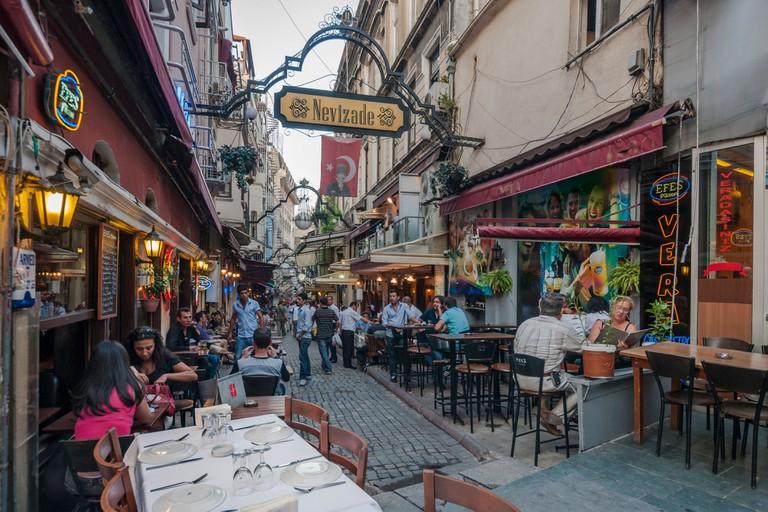 The lively Nevizade Street (Nevizade Sokak) in Beyoglu, located in the modern part of Istanbul,Turkey