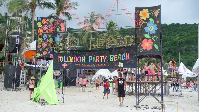 Full moon party on the beach in Koh Phangan