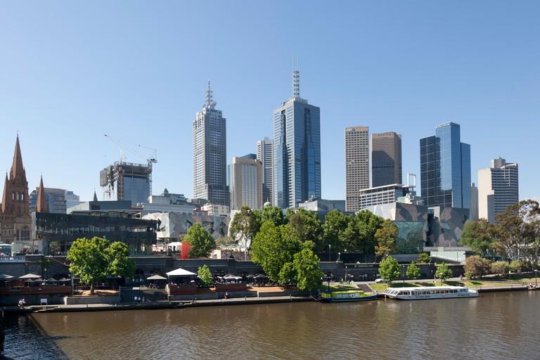 Southbank of the Yarra river Melbourne, Australia