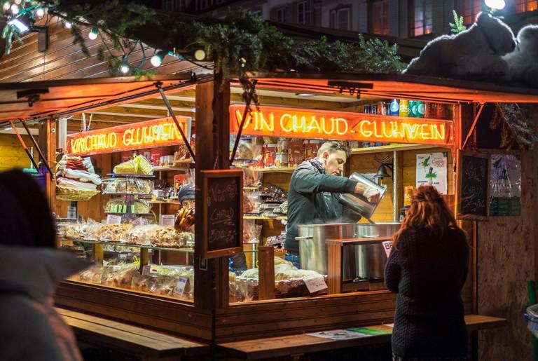 Vin Chaud stall at Christmas market