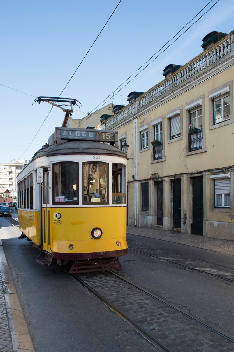 The number 15 yellow tram