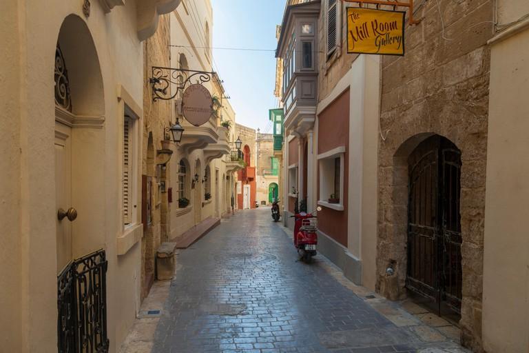 Narrow street in Rabat, Gozo, Malta